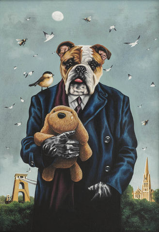 Winnie,in,Clifton,signed,limited,edition,unframed,print,Signed limited edition print, dog, anthropomorphic, low brow