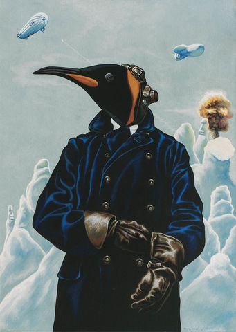 Apocalyptic,Aviator,signed,limited,edition,unframed,print,Signed limited edition print, Penguin, anthropomorphic, low brow