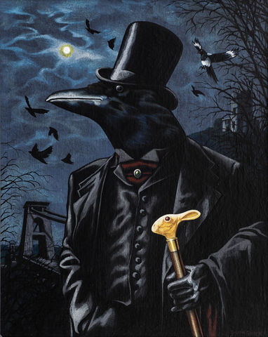 Toby,Theadore,Clevely,signed,limited,edition,unframed,print,Signed limited edition print, crow, anthropomorphic, low brow