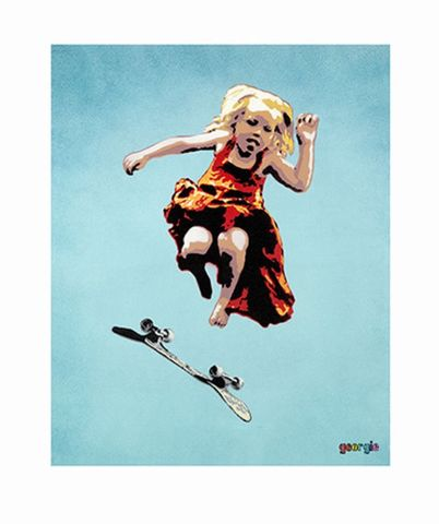 Skater,Girl,by,Georgie,signed,limited,edition,giclee,print,Signed limited edition print, Skater Girl, Georgie