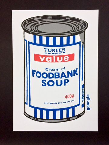 Foodbank,Soup,by,Georgie,limited,edition,4,colour,screen,print,Signed limited edition print, , Georgie