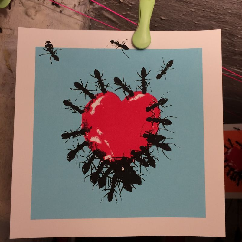 Feed me Love by Georgie limited edition 3 colour screen print - product images  of
