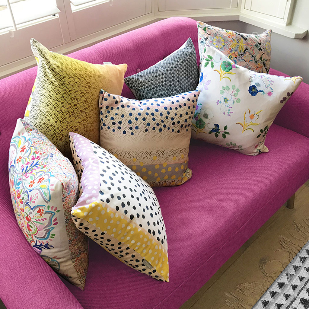 cushions hand made oxford jericho printed pattern