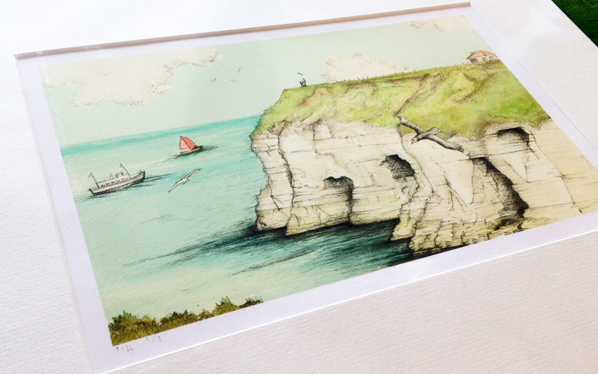 Thronwick bay, gift, coastal, lalabuds, artist, rebecca carr, commission, illustration