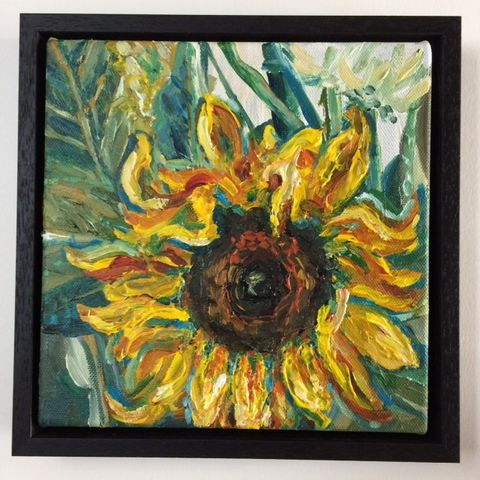 SOLD,painting, sunflower, framed, artist, tournesol, rebecca carr artist