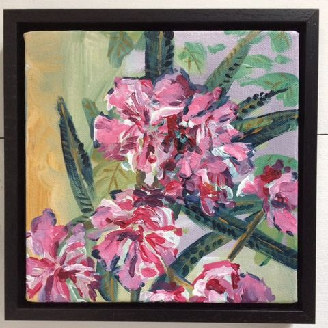 SOLD,mediterranean flowers, acrylic, canvas, france, lalabuds, rebecca carr artist