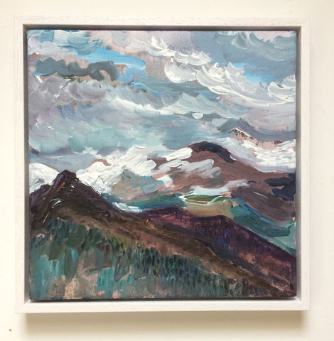SOLD,Available,in,auction,ending,11th,May,(see,link,description),pyrenees, snow storm, mountains, france, acrylic, landscape, painting