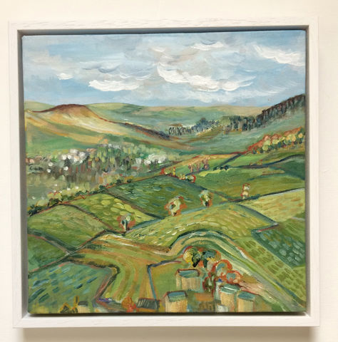 Summer,Landscape,fields,of,green,open,for,bids,on,catawiki,(see,link,in,description),landscape painting, moors, dales, rebecca carr artist, acrylic