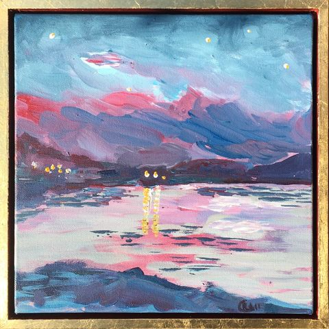 Lake,at,night,,travels,to,Occitanie.,£25,from,sale,of,work,The,Red,Cross,Painting, art, artist, rebecca carr, lake at night, France, travels, charity, fundraiser, Red Cross