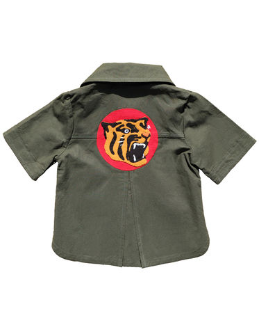 """TIGERRR"",OVER,SHIRT–,2-3Y,Black Saturn, retro, kids, clothing, vetements, enfant, unique, trendy, cool, fashion, cotton, coton, baseball, tiger, hanshin tigers, unisex, boy, girl, garcon, fille, safari, shirt, blouse, button down, chemise, japan, tokyo, made in france"