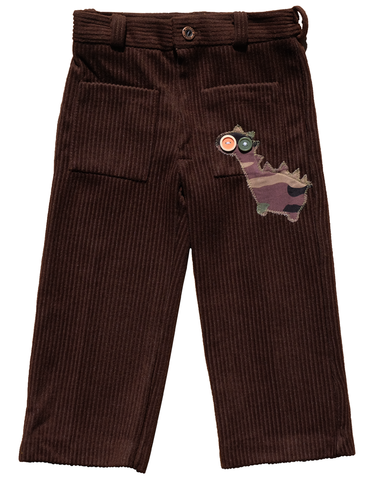 """BIG,EYE,DINO"",CORDUROY,TROUSERS,–,2-3Y,Black Saturn, retro, kids, clothing, vetements, enfant, unique, trendy, cool, fashion, dinosaures, T Rex, unisex, boy, girl, garcon, fille, pants, pantalons, corduroy, velours, cotelé, made in france"