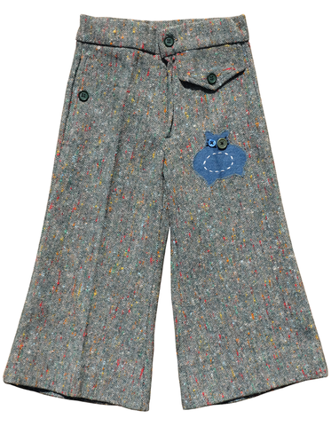 """BIG,EYE,KITTY"",TWEED,TROUSERS,–,2-3Y,Black Saturn, retro, kids, clothing, vetements, enfant, unique, trendy, cool, fashion, cat, kitty, chat, unisex, boy, girl, garcon, fille, pants, trousers, pantalons, tweed, made in france"