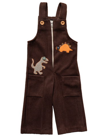"""BIG,EYE,DINOS"",CORDUROY,OVERALLS,-,12-18M,Black Saturn, retro, kids, clothing, vetements, enfant, unique, trendy, cool, fashion, dinosaures, T Rex, unisex, boy, girl, garcon, fille, overalls, salopette, corduroy, velours, cotelé, made in france"