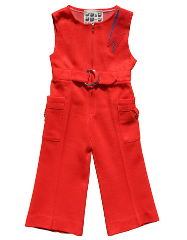 """JEAN,GENIE"",JUMPSUIT,–,12-18M,Black Saturn, retro, kids, clothing, vetements, enfant, unique, trendy, cool, fashion, disco, david bowie, ziggy stardust, jean genie, Aladdin Sane, lightning bolt, éclair, orange, unisex, boy, girl, garcon, fille, overalls, salopette, made in france"
