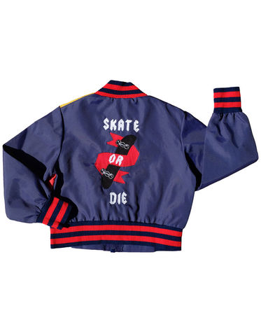 """SKATE,OR,DIE"",VARSITY,JACKET,–,2-3Y,Black Saturn, retro, kids, clothing, vetements, enfant, unique, trendy, cool, fashion, unisex,  girl, boy, fille, garcon, varsity, jacket, blouson, coupe vent, wind breaker, skate, skateboard, punk, skull, surf, made in france"