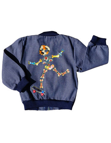 """SKATE,PUNK"",DENIM,BOMBER,JACKET,–,3-4Y,Black Saturn, retro, kids, clothing, vetements, enfant, unique, trendy, cool, fashion, unisex,  girl, boy, fille, garcon, jeans, denim, jacket, bomber, blouson, skate, skateboard, punk, skull, surf, made in france"