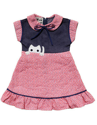 """KITTY"",QUILTED,DRESS,–,2-3Y,Black Saturn, retro, kids, clothing, vetements, enfant, unique, trendy, cool, fashion, cotton, coton, girl, fille, robe, japan, tokyo, kawaii, cat, chat, made in france"