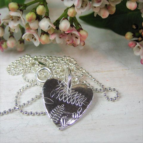 Fern,(958),heart,artisan. handcrafted. fern. designer. unique. silver.heart. britannia silver.unique. quirky. mothers day. valentines. birthday. christmas