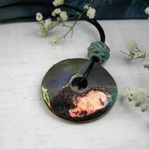 Anti,-Paxos,Leather,raku,verdigris,copper,turquoise, ceramic, artisan, mothers day ,unique, bespoke,christmas