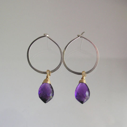 Small,Silver,Post,Hoops,with,Amethyst,Dangles,,Mixed,Metal,Gemstone,Earrings,,Modern,and,Minimalist,,Lightweight,Everyday,Jewelry,Earrings,Small_Silver,Post_Hoops,Amethyst_Dangles,Mixed_Metal,Gemstone_Earrings,Modern_Hoops,Minimalist_Hoops,Lightweight_Hoops,Everyday_Earrings,BellaJewels,Bella_Jewels,Silver_Hoops,Amethyst_Hoops,argentium sterling silver wire,amethyst