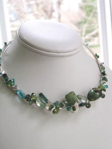 Sterling,Sculptural,Tourmaline,Statement,Collar,,Gemstone,Necklace,in,Argentium,with,Blue,and,Green,Sapphires,,Prasiolite,,Apatite,Jewelry,Sterling_Sculptural,Tourmaline_Statement,Statement_Collar,Tourmaline_Collar,Gemstone_Necklace,Argentium_Collar,Blue_and_Green,Sapphire_Collar,Prasiolite_Collar,Apatite_Collar,BellaJewels,Sculptural_Collar,Bella_Jewels,sterling wire,gemsto