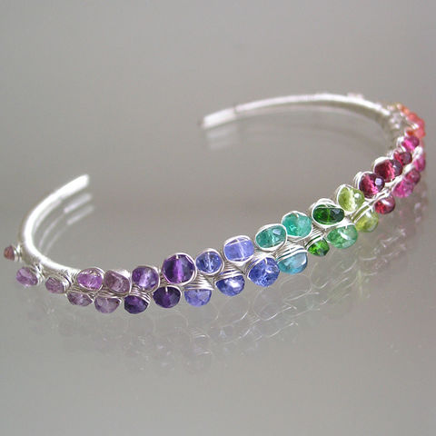 Rainbow,Gemstone,Cuff,,Sterling,Stackable,Wire,Wrapped,Bracelet,with,Sapphire,,Amethyst,,Tanzanite,,Garnet,,Made,to,Order,Jewelry,Rainbow_Cuff,Gemstone_Bracelet,Sterling_Bracelet,Sapphire_Cuff,Amethyst_Cuff,Tanzanite_Cuff,Original_Design,Signature_Cuff,Stackable_Cuff,Silver_Cuff,Bellajewels,Bella_jewels,artist_made_cuff,argentium silver,gemstones,sapphire,tanzanite