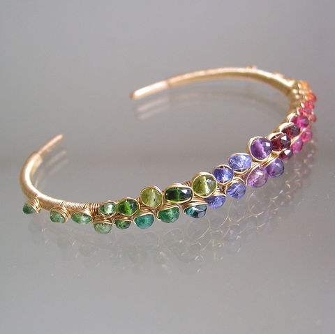 Rainbow,Gemstone,Gold,Filled,Bracelet,,Stackable,Wire,Wrapped,Cuff,with,Sapphire,,Amethyst,,Tanzanite,,Ruby,,Apatite,,Tsavorite,,Made,to,Order,Jewelry,Bracelet,Rainbow_Gemstone,Gold_Filled_Bracelet,Stackable_Cuff,Sapphire_Cuff,Amethyst_Cuff,Tanzanite_Cuff,Ruby_Gold_Cuff,Original_Design,Signature_Cuff,Rainbow_Cuff,Bellajewels,Bella_Jewels,Spectrum_Gold_Cuff,14k gold filled wire,gemstones,sapphire