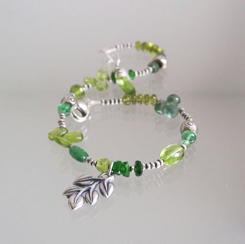 Earthy,Green,Gemstone,Beaded,Layering,Bracelet,with,Sterling,Silver,Leaf,Vine,Charm,,Peridot,,Tsavorite,,Emerald,,Vesuvianite,,Apatite,Jewelry,Earthy_Green,Gemstone_Beaded,Layering_Bracelet,Sterling_Leaf,Vine_Charm,Peridot,Tsavorite,Emerald,Vesuvianite,Slender_Jewels,Green_Gem_Bracelet,BellaJewels,vesuvianite,green apatite,tsavorite,green tourmaline,peridot,chrome diopsi