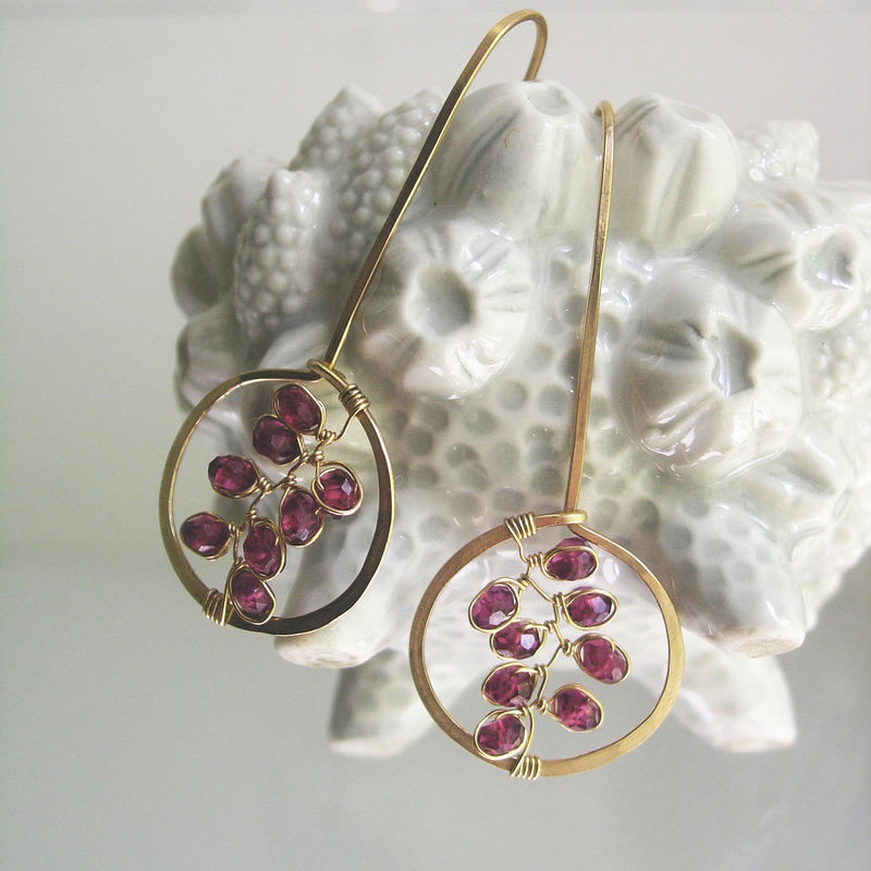 Garnet Drop Hoops, 14k Gold Filled Linear Lightweight Earrings with Gemstone Vines - product images  of