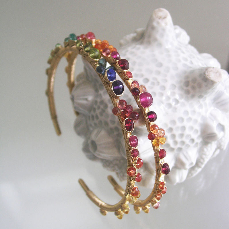 Rainbow Gemstone 14k Solid Gold Cuff Bracelet Wire Wrapped with Orange Sapphire, Tanzanite, Emerald - product images  of