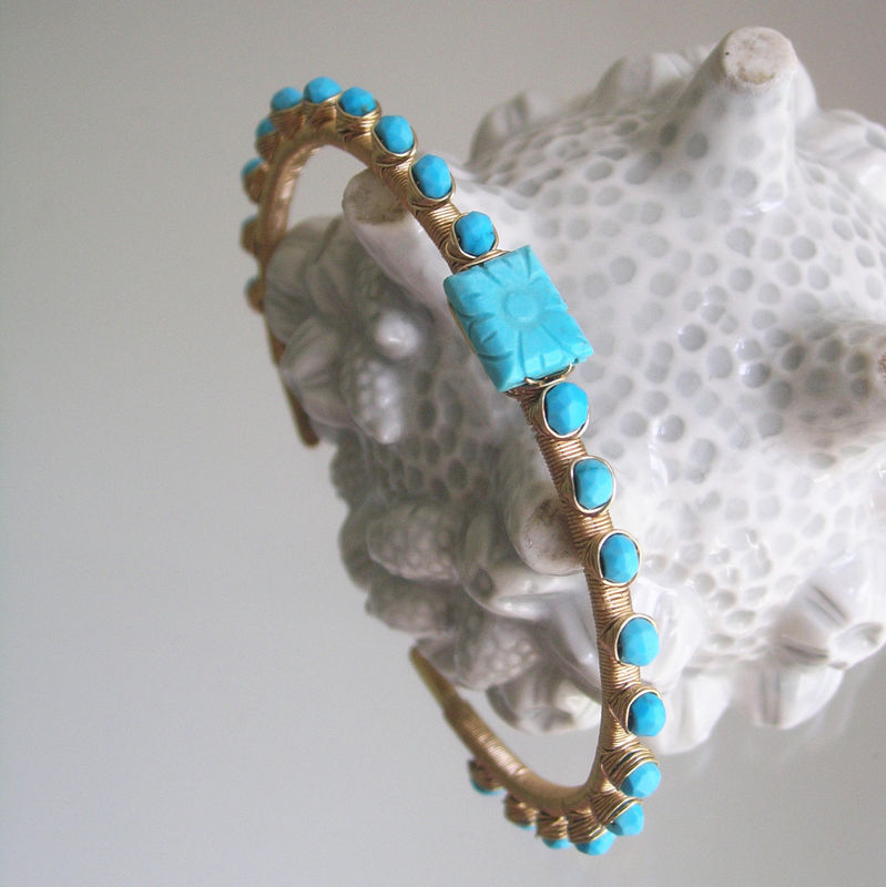 Turquoise 14k Gold Filled Stackable Cuff, Wire Wrapped Bracelet with Carved Gemstone - product images  of
