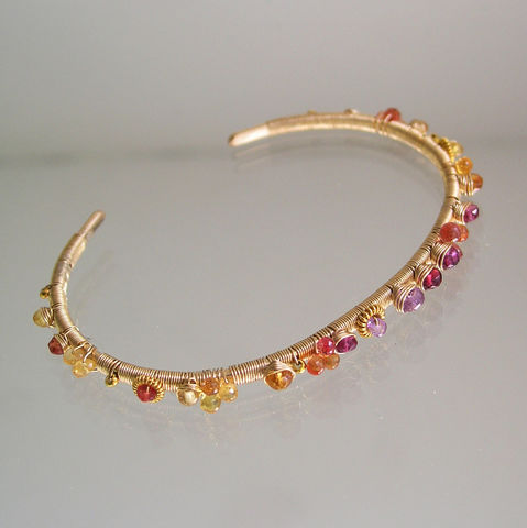 Colorful,Wire,Wrapped,Sapphire,Cuff,,14k,Gold,Filled,Bracelet,with,Orange,Sapphire,,Red,Spinel,,and,Pink,Tourmaline,Jewelry,Sapphire_Cuff,Wire_Wrapped,Gold_Filled_Bracelet,Orange_Sapphire_Cuff,Red_Spinel_Cuff,Artist_Made,Bellajewels,Bella_Jewels,Hand_forged_cuff,Colorful_Wire,Wrapped_Sapphire,14k_Gold_Filled,Pink_Tourmaline_Cuff,14k gold filled wire,vermeil be
