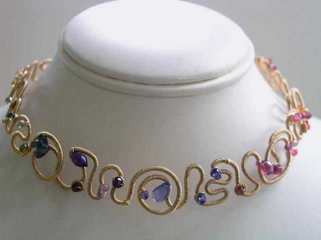 Rainbow Gemstone 14k Gold Filled Wide Scribble Choker Necklace with Ruby, Tourmaline, Tanzanite, Garnet, Sapphire, Apatite - product images  of