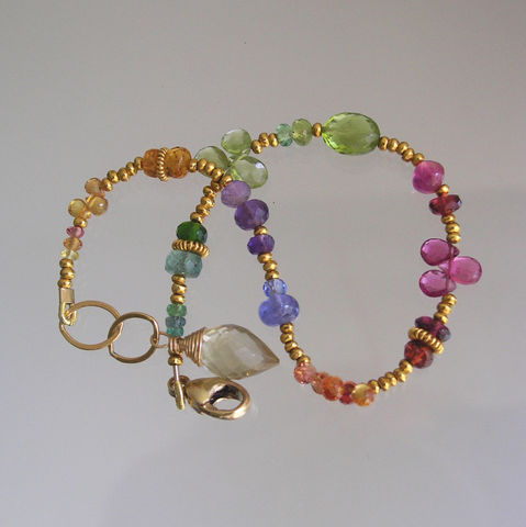 Rainbow,Gemstone,Vermeil,Beaded,Layering,Bracelet,with,Tanzanite,,Tourmaline,,Peridot,,Tsavorite,,Emerald,Jewelry,Rainbow_Gemstone,Gemstone_Bracelet,Layering_Bracelet,Tanzanite_Bracelet,Tourmaline_Bracelet,Peridot_Bracelet,Skinny_Jewels,Original_Design,Bellajewels,Rainbow_Bracelet,Vermeil_Beaded,Beaded_Bracelet,Tsavorite_Bracelet,matte gold beadalon