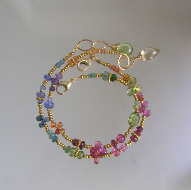 Rainbow Gemstone Vermeil Beaded Layering Bracelet with Tanzanite, Tourmaline, Peridot, Tsavorite, Emerald  - product images  of