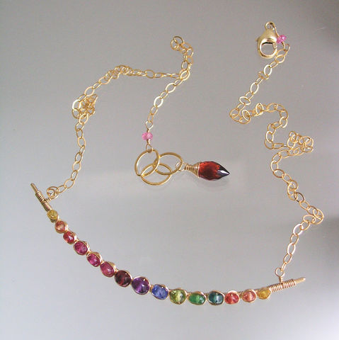 Rainbow,Gemstone,Wire,Wrapped,Curved,Bar,Necklace,in,Sterling,Silver,or,14k,Gold,Fill,,Sapphires,,Apatite,,Ruby,,Tourmaline,Jewelry,Gemstone_Necklace,Colorful_Necklace,Gold_Filled_Necklace,Sterling_Necklace,Delicate_Necklace,Sapphire_Necklace,Tsavorite_Necklace,Tourmaline_Necklace,Bellajewels,Bella_Jewels,Rainbow_Gemstone,14k_Gold_Filled,Bar_Necklace,14k gold filled c