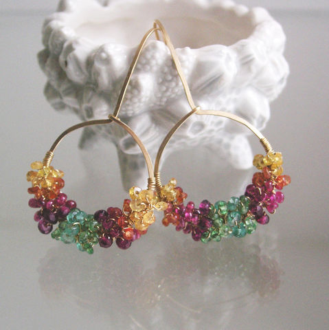 Rainbow,Gemstone,Gold,Filled,Hoop,Earrings,with,Sapphires,,Ruby,,Garnet,,Tsavorite,,Emerald,,Small,Sized,Jewelry,Rainbow_Gemstone,Gold_Filled_Hoops,with_Sapphire,Ruby,Tsavorite,Emerald,Rhodolite_Garnet,Hand_Wrought,Artist_Made,Original_Design,BellaJewels,Bella_Jewels,Gemstone_Hoops,14k gold filled wire,gemstones,sapphire,ruby,tsavorite,emerald,garne
