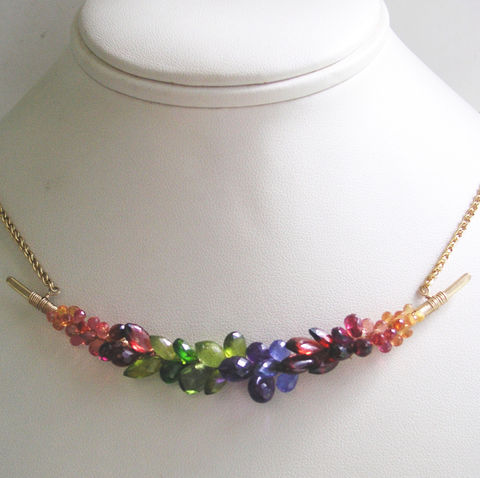 Rainbow,Gemstone,14k,Gold,Filled,Curved,Bar,Necklace,,Multi,Choker,with,Sapphires,,Garnet,,Tanzanite,,Peridot,,Diopside,,Made,to,Order,Jewelry,Necklace,Hand_Wrought,Artist_Made,Original_Design,Rainbow_Gemstone,Encrusted_Necklace,Curved_Bar,Gemstone_Necklace,Signature_Necklace,Gem_Gold_Necklace,Gem_Bar_Necklace,Bellajewels,Bar_Necklace,14k_Gold_Filled,14k gold filled wire,14k gold filled