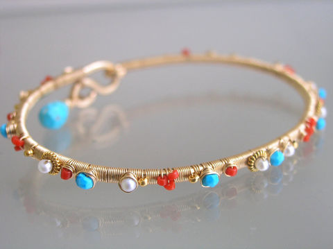 Turquoise,14k,Gold,Filled,Bangle,with,Vintage,Coral,and,Pearls,,Wire,Wrapped,Stackable,Bracelet,Jewelry,Gold_Filled_Bangle,Beach_Bangle,Original_Design,Signature_Bangle,Pearl_Bracelet,Vintage_Coral_Bangle,Stackable_Bracelet,Wire_Wrapped_Bangle,Bellajewels,Summer_Bracelet,Wrapped_Bracelet,Turquoise_14k_Gold,14k gold fill,wire,gemstones,pearl