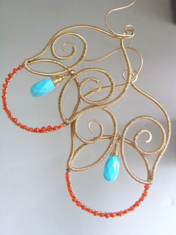 Turquoise,14k,Gold,Filled,Sculptural,Chandelier,Earrings,with,Coral,Jewelry,Turquoise_Earrings,Gold_Filled_Earrings,Sculptural_Earrings,Coral_Chandeliers,Southwestern,Handmade_Earrings,Lightweight_Earrings,bellajewels,Turquoise_14k_Gold,Filled_Sculptural,Chandelier_Earrings,Coral_Turquoise,Turquoise_Chandelier,14