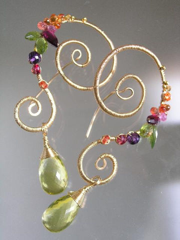 14k,Gold,Filled,Scrolled,Rococo,Gemstone,Earrings,,Wire,Wrapped,Dangles,with,Lemon,Quartz,,Sapphire,,Amethyst,,Spinel,,Garnet,,Peridot,Jewelry,Earrings,Signature_Earrings,Gold_Gemstone,Gemstone_Earrings,Lemon_Quartz_Dangles,Multi_Gem_Nautilus,nautilus_Earrings,Sculptural_earrings,Statement_Earrings,Original_Design,bellajewels,gemstone_nautilus,artist_made_earrings,wire_wrapped_dangles,go