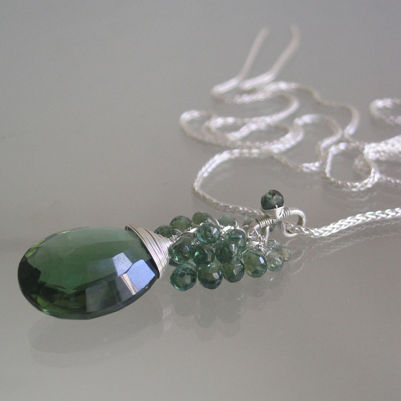 Green Gemstone Sterling Silver Tassel Pendant with Apatite, Sapphire, Green Quartz  - product images  of