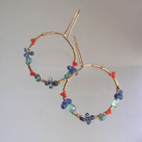 Blue,and,Orange,Gemstone,Gold,Filled,Hoops,,Wire,Wrapped,Earrings,with,Vintage,Coral,,Kyanite,,Sapphire,,Apatite,Jewelry,Apatite_Earrings,Kyanite,Vintage_Coral,Blue_Sapphire,Wire_Wrapped,Everyday,Original_Design,Signature,Gemstone_Gold,Filled_Hoops,Gold_Filled_Hoops,BellaJewels,Wire_Wrapped_Hoops,14k gold filled wire,gemstones,apatite,kyanite,sapphire,coral