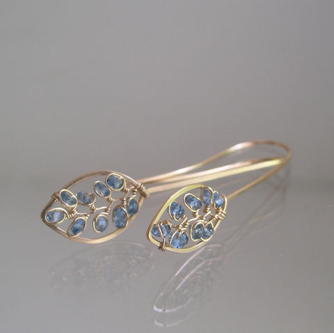 Blue,Topaz,Leaf,Earrings,,Gemstone,Vine,Dangles,,Elongated,Petals,,Small,and,Lightweight,,Original,Design,,Made,to,Order,Jewelry,Earrings,Blue_Topaz_Earrings,Leaf_Earrings,Blue_Petals,Original_Design,Signature_Earrings,Gemstone_Dangles,Vine_Dangles,Elongated_Earrings,Small_Lightweight,bellajewels,blue_leaf_earrings,Blue_Gem_Dangles,Petal_Earrings,14k gold filled wire