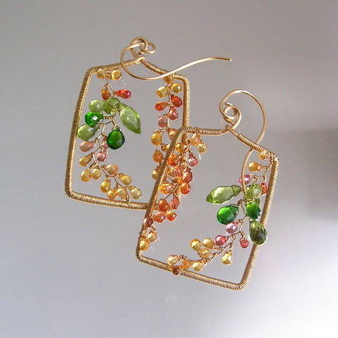 Orange,Sapphire,Rectangular,Earrings,,Sculptural,Gemstone,Vines,with,Peridot,,Chrome,Diopside,,Made,to,Order,Jewelry,Earrings,Sapphire_Earrings,Sculptural_Hoops,Autumn_Jewelry,Artist_Made,Chrome_Diopside,Original_Design,Rectangular_Dangles,Vine_Dangles,Peridot_Earrings,Wire_Wrapped,Fall_earrings,Bellajewels,Bella_jewels,14k gold filled wire,gemstones,peridot,chr