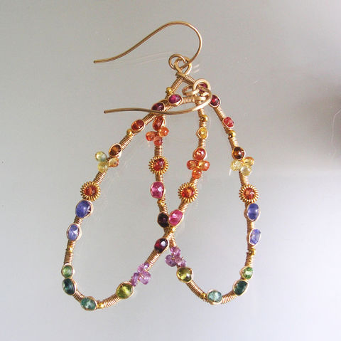 Multi,Gemstone,14k,Gold,Filled,Oval,Hoops,,Elongated,Wire,Wrapped,Earrings,with,Sapphires,,Vesuvianite,,Ruby,,Tanzanite,,Apatite,Jewelry,Gold_Filled_Earrings,Wire_Wrapped,Tanzanite_Jewelry,Sapphire_Dangles,Artist_Made,Original_Design,Multi_Gemstone,Oval_Hoops,Gemstone_Hoops,Bellajewels,Gem_Gold_Hoops,Signature_Earrings,Artist_Made_Hoops,14k gold filled wire,gemstones,verme