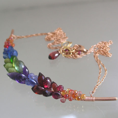 Rainbow,Gemstone,Encrusted,14k,Rose,Gold,Filled,Curved,Bar,Necklace,,Hand,Forged,Multi,Gem,Choker,Jewelry,Necklace,Rainbow_Gemstone,Rose_Gold_Filled,Curved_Bar,Bar_Necklace,Multi_Gemstone,Statement_Necklace,Wire_Wrapped,Original_Design,Signature,BellaJewels,Artist_Made,Rainbow_Gem_Necklace,Sculptural_Necklace,14k rose gold filled wire,gemstones,sapphi