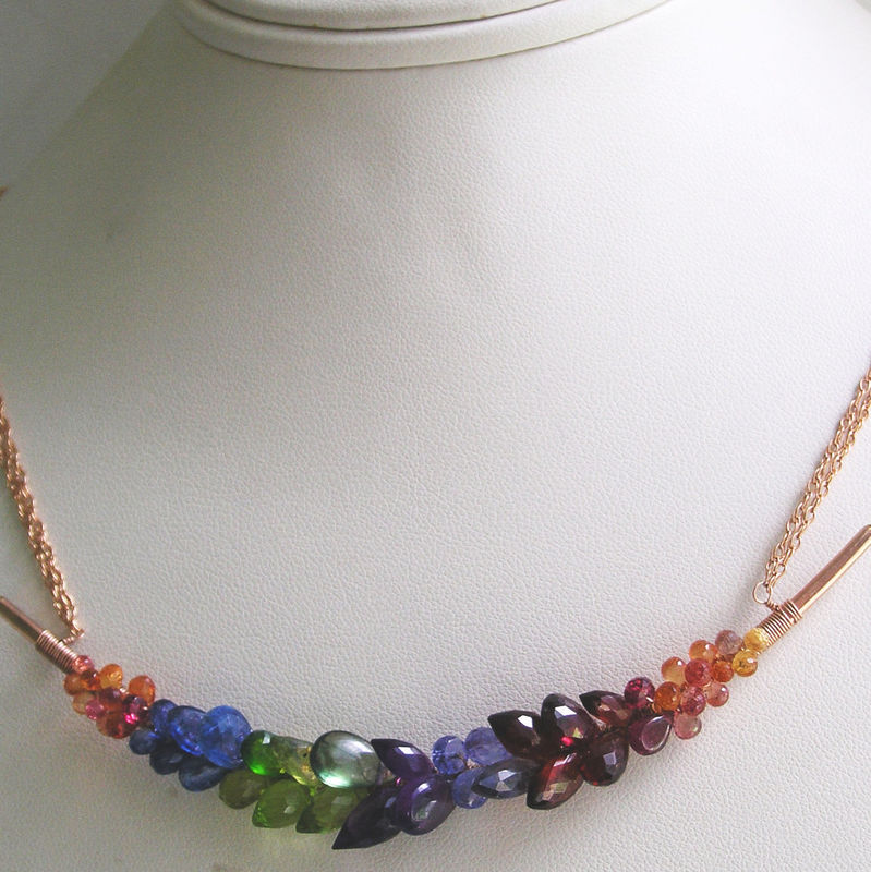 Rainbow Gemstone Encrusted 14k Rose Gold Filled Curved Bar Necklace, Hand Forged Multi Gem Choker  - product images  of