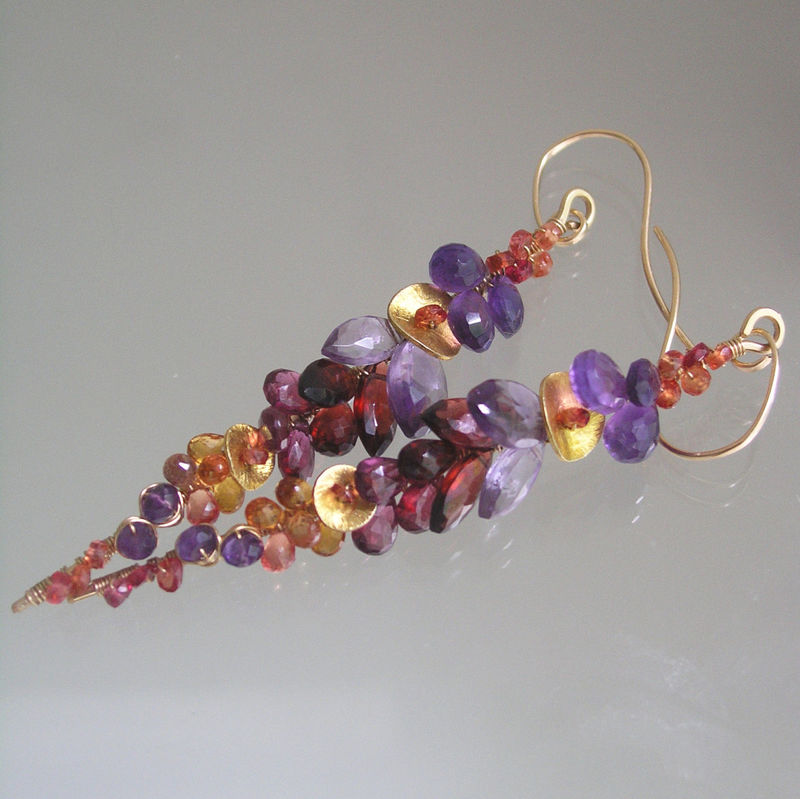 Amethyst 14k Gold Filled Linear Earrings, Long Wire Wrapped Stems with Pink Tourmaline, Sapphires - product images  of
