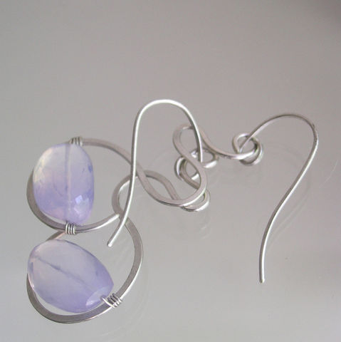Lavender,Quartz,Hand,Wrought,Sterling,Silver,Dangle,Earrings,Jewelry,Lavender_Quartz,Lavender_Earrings,Sterling_Lilac,Lilac_Dangles,Curved_Silver_Drops,Glowing_Gemstones,Minimalist,Original_Design,Signature,Bellajewels,Lavender_Gemstones,Lilac_Gem_Dangles,Silver_Lilac_Dangles,argentium sterling silver wire